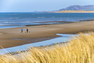 WAL7793 People walking on Ynyslas Beach, Snowdonia, Wales