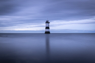WAL7797AW Penmon Point Lighthouse seascape, Anglesey, Wales, UK. Autumn (September) 2019.