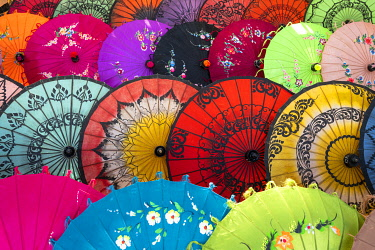 MYA2873AW Full frame shot of traditional Burmese colorful umbrellas, Mandalay, Mandalay Region, Myanmar