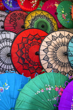 MYA2875AW Full frame shot of traditional Burmese colorful umbrellas, Mandalay, Mandalay Region, Myanmar