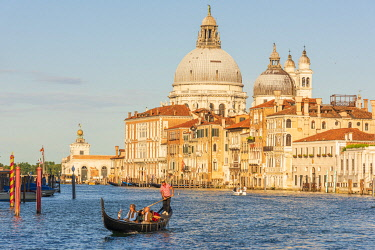 ITA15685AW europe, Italy, Venice. The Canal Grande with the church Santa Maria della Salute and a gondola