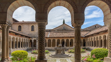 ITA15689AW Europe, Italy, Venetia. The cloister of the Cistercian abbey of Follina near to Treviso.