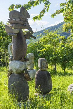 ITA15699AW europe, Italy, Venetia. Art in the vineyard in the Prosecco hills near to Valdobbiadene.