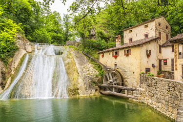 ITA15705AW europe, Italy, Venetia. The watermill Mulino della croda near to Refrontolo in the province of Treviso.