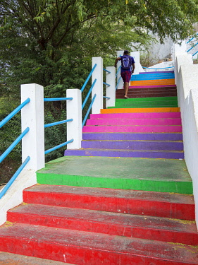 AF08MZW0173 Stairs leading up to Plato. The capital Praia on Santiago Island (Ilha de Santiago), Cape Verde