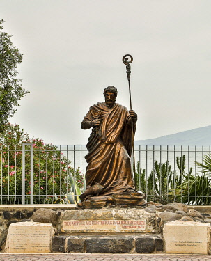 AS14HLL0076 Israel, Capernaum. Statue of St. Peter.