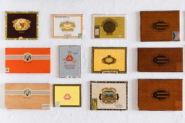 CA27JMR0018 Wall of old cigar boxes. San Juan Puerto Rico.