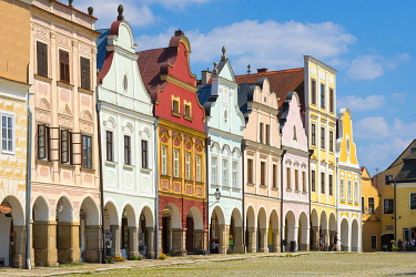 Iconic houses with arcades and high gables at Zacharias of Hradec Square, UNESCO, Telc, Jihlava District, Vysocina Region, Czech Republic