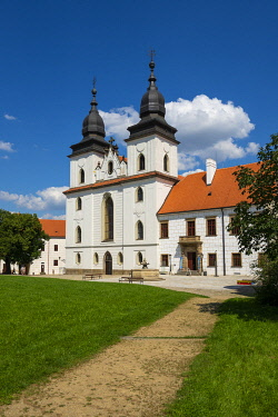 St. Procopius Basilica against clear blue sky on sunny day, UNESCO, Trebic, Trebic District, Vysocina Region, Czech Republic