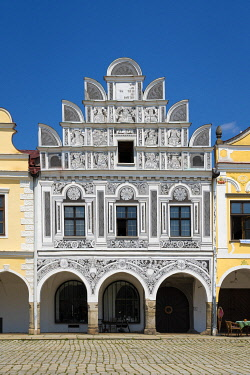 Iconic house with arcades and high gable at Zacharias of Hradec Square, UNESCO, Telc, Jihlava District, Vysocina Region, Czech Republic