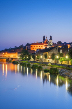St. Procopius Basilica and waterfront by Jihlava river at night, UNESCO, Trebic, Trebic District, Vysocina Region, Czech Republic