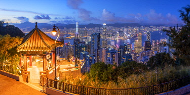 Lion Pavilion on Victoria Peak and skyline at sunset, Hong Kong
