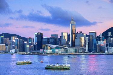CH12510AW Skyline of Wan Chai on Hong Kong Island at sunset, Hong Kong