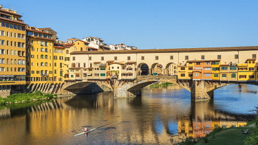 ITA15709AW Europe, Italy, Florence. The old bridge reflecting in the river Arno.