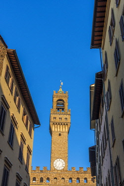 ITA15717AW Europe, Italy, Florence. The tower of the Palazzo Vecchio, the townhall of Florence situated in the Piazza della Signoria.