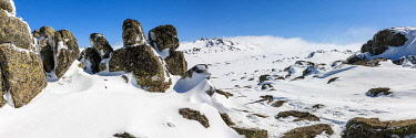 AUS4660AW Snow and Ice covered landscape. Kosciuszko National Park, Snowy Mountains, New South Wales, Australia