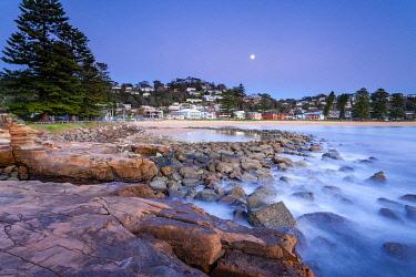 AUS4672AW Rockpool and Moon at Avoca Beach, Central Coast, New South Wales, Australia