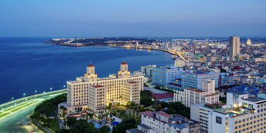 CUB2620AW View over Vedado towards Hotel Nacional and El Malecon at dusk, Havana, La Habana Province, Cuba