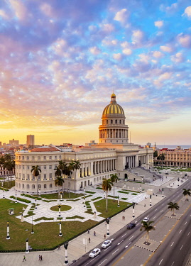 CUB2675AW El Capitolio and Paseo del Prado at sunset, elevated view, Havana, La Habana Province, Cuba