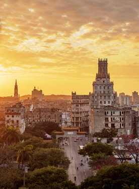 CUB2676AW Centro Habana and Chinatown at sunset, elevated view, Havana, La Habana Province, Cuba