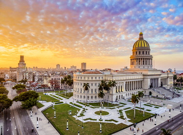 CUB2677AW El Capitolio at sunset, elevated view, Havana, La Habana Province, Cuba