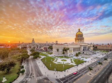 CUB2678AW El Capitolio and Paseo del Prado at sunset, elevated view, Havana, La Habana Province, Cuba