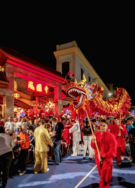 CUB2699AW Dragon Dance, Chinese New Year Celebration, Chinatown, Havana, La Habana Province, Cuba