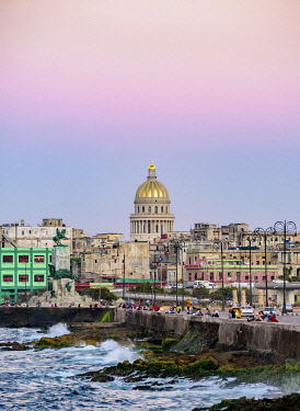 CUB2721AW View over El Malecon and Centro Habana towards El Capitolio at dusk, Havana, La Habana Province, Cuba