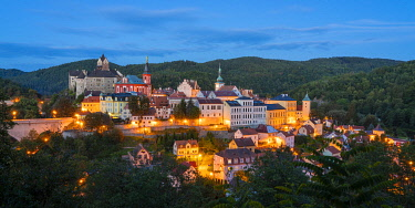 CZE2478AW Elevated scenic view of Loket at night, Loket, Sokolov District, Karlovy Vary Region, Bohemia, Czech Republic