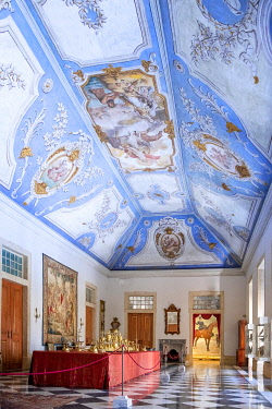 POR11126AW Portugal, Alentejo, Vila Vicosa. Ducal Palace of the Bragancas - where Queen Catherine of England (consort queen of Charles II) grew-up as a child and where Portuguese monarchs lived into the 20th Cen...
