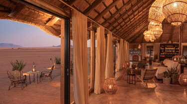 NAM6777 Namibia, NamibRand Nature Reserve, Kwessi Dunes, the stunning interior, verandah and views from the mess.