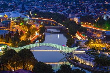 GEO0550AW Elevated view of The Bridge of Peace at twilight, Tbilisi, Georgia
