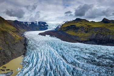ICE42395AW Aerial view of Svinafellsjokull glacier, Vatnajokull, Vatnajokull National Park, South Iceland, Iceland