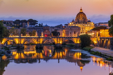 ITA16192AWRF Tiber river and St. Peter�s Basilica church at sunset, Rome, Lazio, Italy