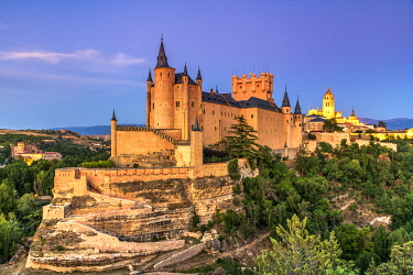 Alcazar castle and city skyline, Segovia, Castile and Leon, Spain