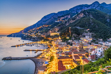 Sunset in Amalfi, Amalfi coast, Campania, Italy
