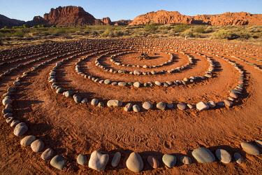 US45JME0027 USA, Utah, Ivins, Red Mountain Resort, spiral meditation labyrinth. (PR)