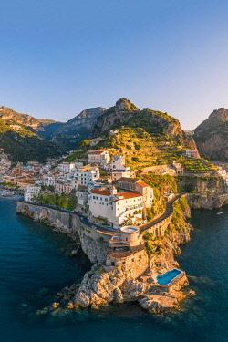 ITA16244AW Aerial view of Amalfi, Amalfi Coast, Gulf of Salerno, Salerno province, Campania, Italy