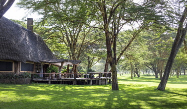 KEN11524 Sirikoi, Lewa Wildlife Conservancy, Kenya, the exterior of the private guest cottage.