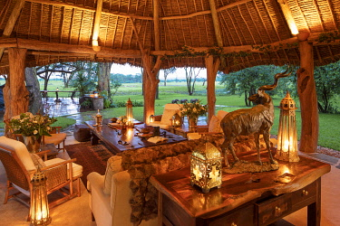 KEN11591 Sirikoi, Lewa Wildlife Conservancy, Kenya, interior of the luxurious lounge area of the mess.