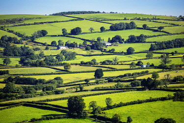 WAL7840AW Europe, United Kingdom, Wales, Carmethenshire, Brecon Beacons. Rural view of fields in the national park