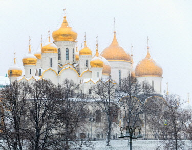 A view towards The Cathedral of the Annunciation and The Cathedral of the Dormition, Kremlin, Moscow, Russia