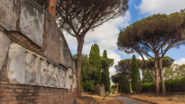 ITA16367AW europe, Italy, Latium. Rome, walking on the ancient Via Appia antica.