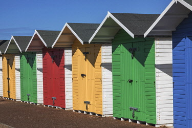 TPX75333 England, East Sussex, Eastbourne, Colourful Beach Huts