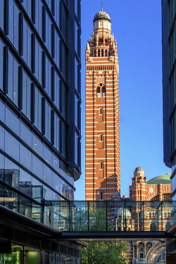 ENG18128AW Europe, UK, England, London, Westminster, Victoria, Cardinal Place, neo-Byzantine tower of Westminster Catholic cathedral, modern glass office buildings, contemporary glass fronted shopping mall, even...