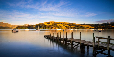 NZ10091AW Sunrise at Akaroa Harbour, Canterbury, South Island, New Zealand