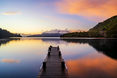 NZ10096AW Sunrise reflections at Lake Tarawera, Rotorua, North Island, New Zealand
