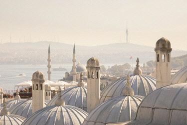 TK01954 View across the Bosphorus from the Suleymaniye Mosque & Bosphorus, Istanbul, Turkey