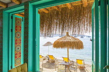 Beachfront cafe, Bodrum, Mugla, Aegean Coast, Turkey © AWL Images