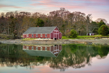 USA15852AW Boathouse on Conary Cove at sunset, Blue Hill, Maine, United States